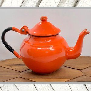 Vntg 1960's Mini Orange Enamel Teapot
